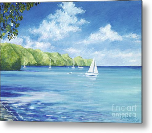 Nautical Seascape Metal Print featuring the painting Friendship Bay by Danielle Perry