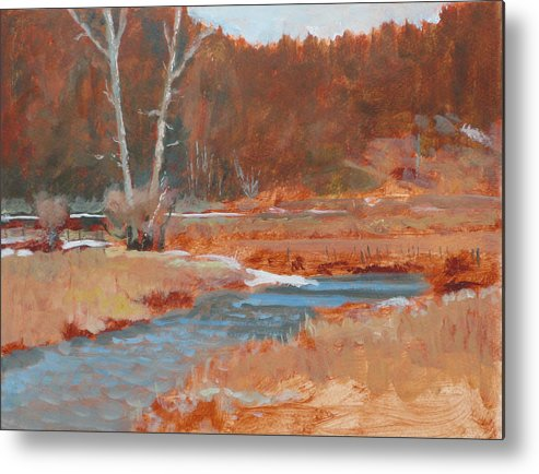 Winter Metal Print featuring the painting Gold Bar Ranch by Robert Bissett
