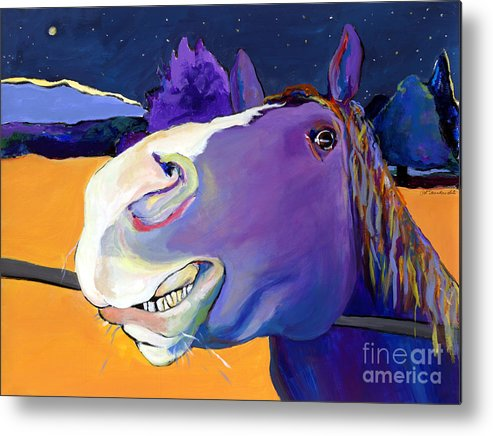 Barnyard Animal Metal Print featuring the painting Got Oats   by Pat Saunders-White