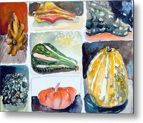 Gourd Metal Print featuring the painting Gourd Collection by Mindy Newman