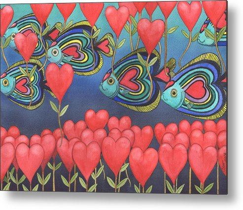 Valentine Metal Print featuring the painting Heart fish by Catherine G McElroy