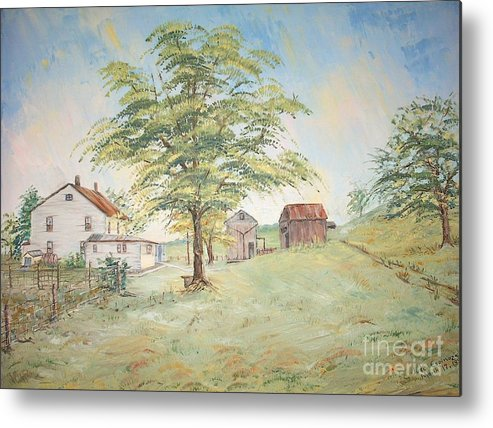 White House; 2 Sheds; Green Tree In Foreground; Set Of 4 Homeplace Prints For $100.00 Metal Print featuring the painting Homeplace - The Farmhouse by Judith Espinoza