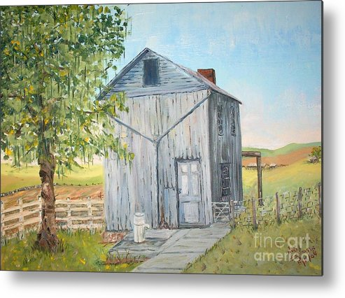 Old Gray Building Beside Green Tree; 2 Kinds Of Fence Metal Print featuring the painting Homeplace - The Washhouse by Judith Espinoza