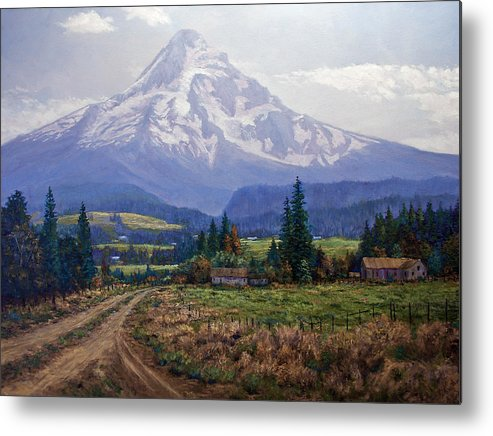 Mt Hood Oregon From Hood River Valley Metal Print featuring the painting Hood River Valley by Donald Neff