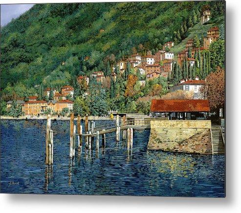 Lake Como Metal Print featuring the painting il porto di Bellano by Guido Borelli
