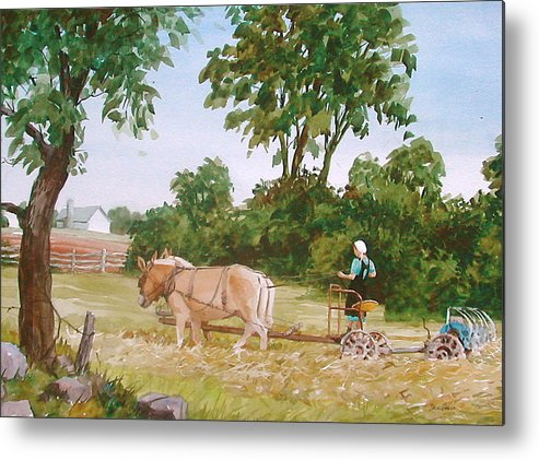 Amish Metal Print featuring the painting In the Hayfield by Faye Ziegler
