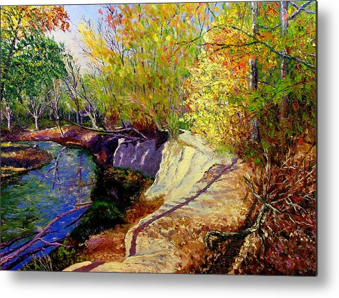 Fall Metal Print featuring the painting Indiana Creek Bank by Stan Hamilton