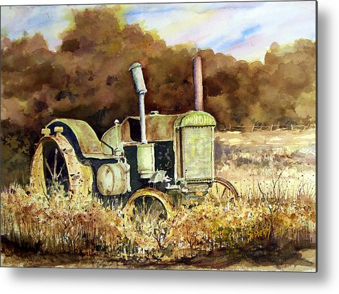 Tractor Metal Print featuring the painting Johnny Popper by Sam Sidders
