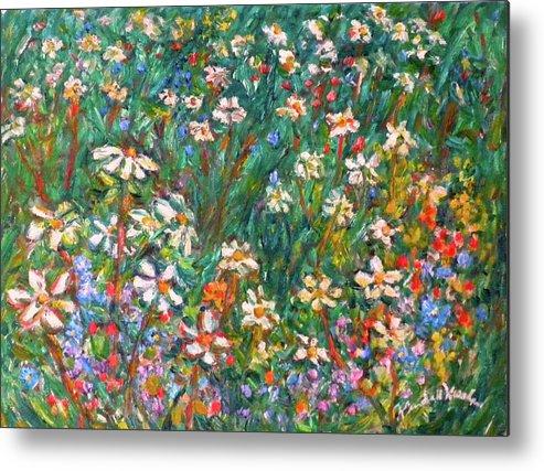 Kendall Kessler Metal Print featuring the painting Jumbled up Wildflowers by Kendall Kessler