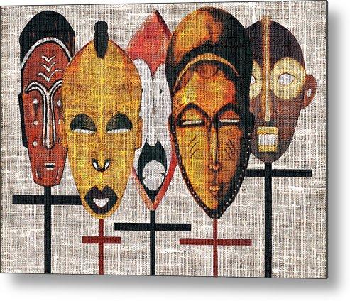 African Masks Metal Print featuring the digital art Kabila Masks by Regina Wyatt