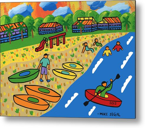 Kayak Metal Print featuring the painting Kayak Beach - Cedar Key by Mike Segal