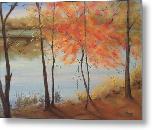 Fall Foliage Metal Print featuring the painting Lakeside Dancers IIII by Pete Maier