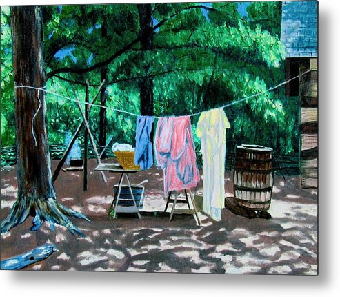 Original Oil On Canvas Metal Print featuring the painting Laundry Day 1800 by Stan Hamilton