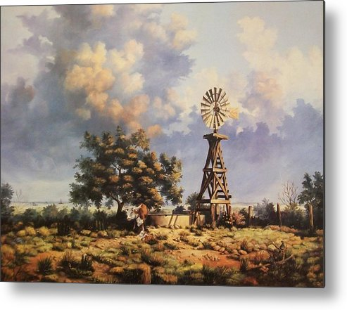 A New Mexico Landscape. Metal Print featuring the painting Lea County Memories by Wanda Dansereau