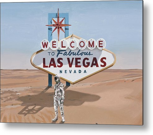 Astronaut Metal Print featuring the painting Leaving Las Vegas by Scott Listfield