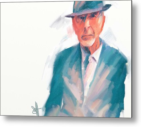 Leonard Cohen Music Portrait Musician Songwriter Metal Print featuring the digital art Leonard by Scott Waters