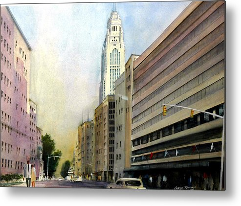 Leveque Metal Print featuring the painting Leveque Tower. Columbus, Ohio by Charles Rowland
