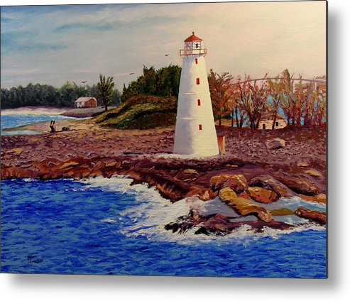Original Oil On Canvas Metal Print featuring the painting Light House by Stan Hamilton
