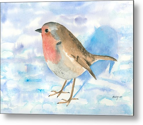 Robin Metal Print featuring the painting Little Robin by Arline Wagner