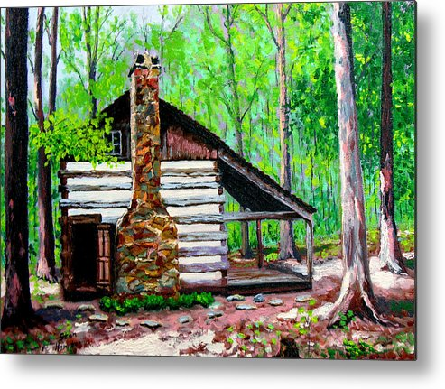 Log Cabin Metal Print featuring the painting Log Cabin V by Stan Hamilton
