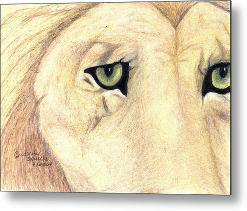 Lion Metal Print featuring the drawing Longing by Jennifer Skalecke