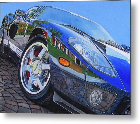 Car Metal Print featuring the painting Love On The Rocks by Lynn Masters