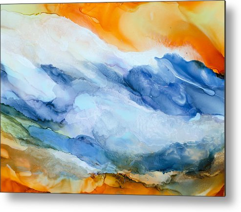 Abstract Metal Print featuring the painting Mesmerized - A by Sandy Sandy