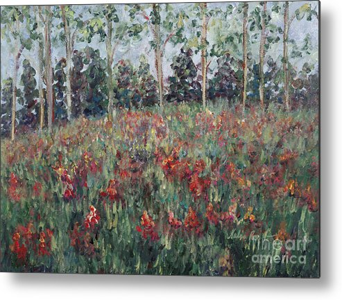 Landscape Metal Print featuring the painting Minnesota Wildflowers by Nadine Rippelmeyer