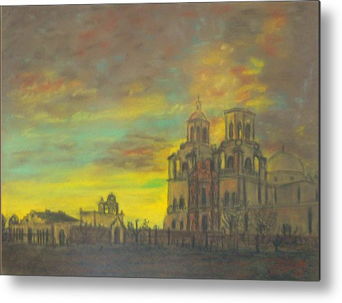 Sonoran Mission Metal Print featuring the painting Mission San Xavier Del Bac by Dan Bozich