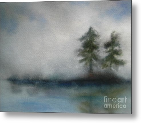 Landscape Metal Print featuring the painting Misty Waters by Vi Mosley
