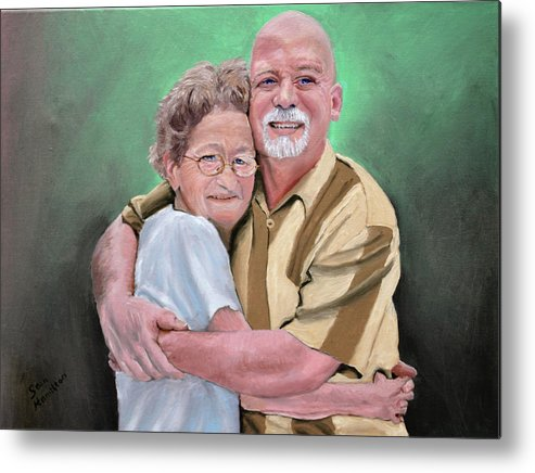 Portrait Metal Print featuring the painting Mom And Son by Stan Hamilton