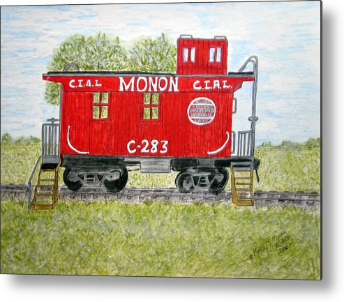 Monon Metal Print featuring the painting Monon Wood Caboose Train C 283 1950s by Kathy Marrs Chandler