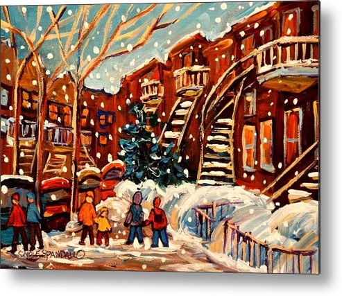 Montreal Metal Print featuring the painting Montreal Street In Winter by Carole Spandau