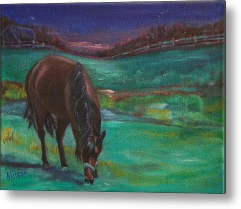 Horse Metal Print featuring the painting Moonlight Snack by Stephanie Allison