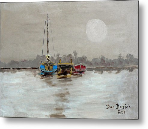 Foggy Morning Metal Print featuring the painting Morning Boats by Dan Bozich