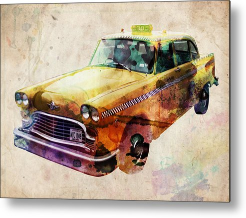 Nyc Metal Print featuring the digital art NYC Yellow Cab by Michael Tompsett