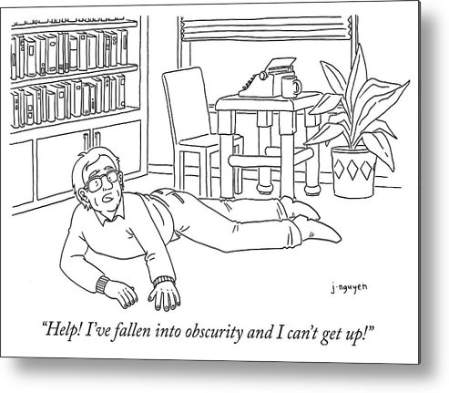 """""""help! I've Fallen Into Obscurity And Can't Get Up!"""" Metal Print featuring the drawing Obscurity by Jeremy Nguyen"""