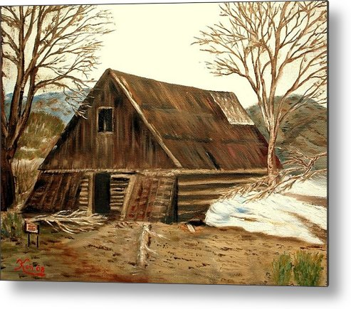 Barn Landscape Snow Metal Print featuring the painting Old Barn series 1 by Kenneth LePoidevin