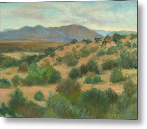Oil Painting Metal Print featuring the painting Ortiz Mountains Summer Day by Phyllis Tarlow