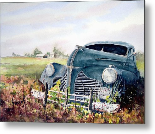 Classic Car Metal Print featuring the painting Out To Pasture by Sam Sidders