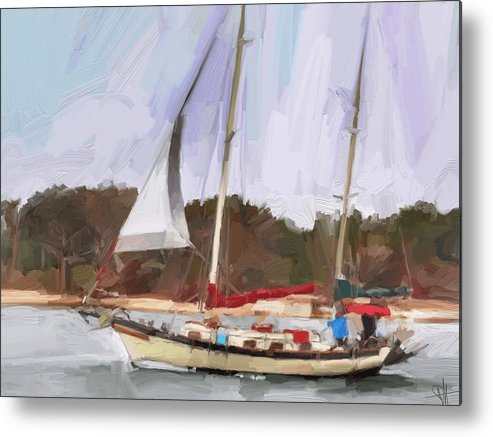 Florida Sailboat Art Metal Print featuring the digital art Outbound by Scott Waters