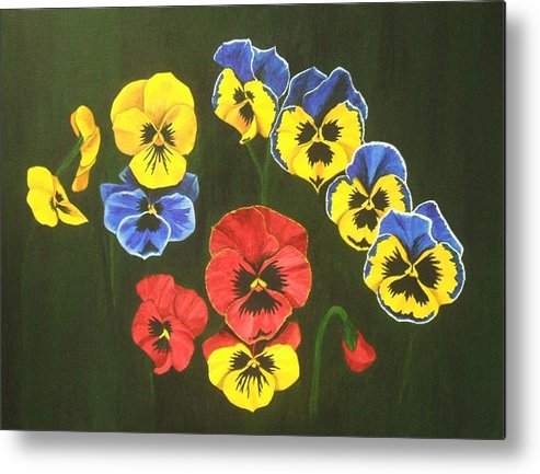 Pansy Flowers Metal Print featuring the painting Pansy Lions Too by Brandy House