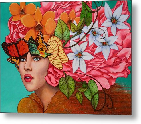 Woman Metal Print featuring the painting Passionate Pursuit by Helena Rose