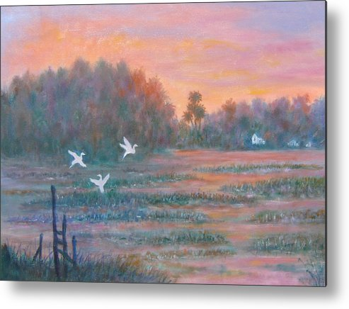 Low Country; Egrets; Sunset Metal Print featuring the painting Pawleys Island by Ben Kiger
