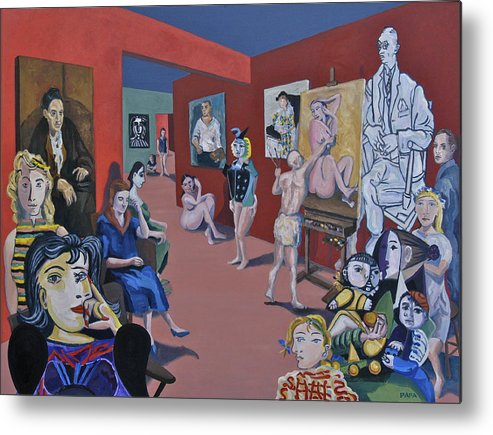 Picasso Metal Print featuring the painting Picasso and Picassos by Ralph Papa