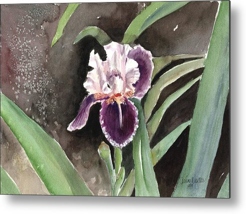 Flower Metal Print featuring the painting Purple Iris by Arline Wagner