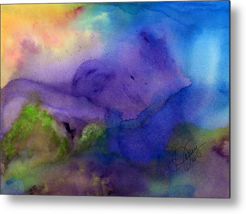 Watercolor Metal Print featuring the painting Purple Moon by Stephanie Jolley