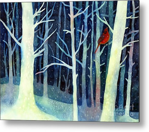 Cardinal Metal Print featuring the painting Quiet Moment by Hailey E Herrera