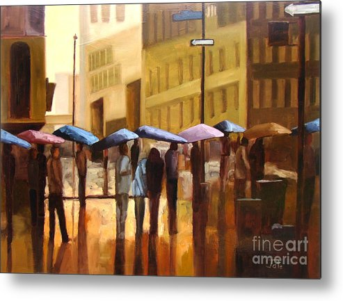 Cityscape Metal Print featuring the painting Rain in Manhattan number seventeen by Tate Hamilton