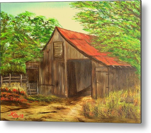 Landscape Metal Print featuring the painting Red Roof Barn by Kenneth LePoidevin